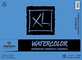 Canson 7022446 XL Series Watercolor Textured Paper Pad for Paint 140 Pound 11 x 15 Inch 30 Sheets