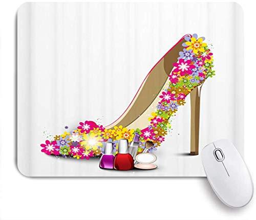 Gaming Mouse Pad rutschfeste Gummibasis, Mädchen Blume High Heels Kosmetik von Nagellack Lippenstift Pulver Kuchen Mode Frauen romantisch weiblich, für Computer Laptop Schreibtisch