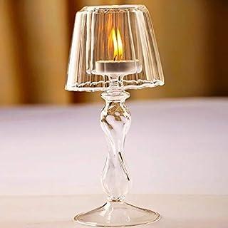 Ebtessam Mousa 1Pcs Lamp Shape Romantic elegant Modern Tealight Glass Candle Holder Table Candlestick for Wedding Hotel Ca...