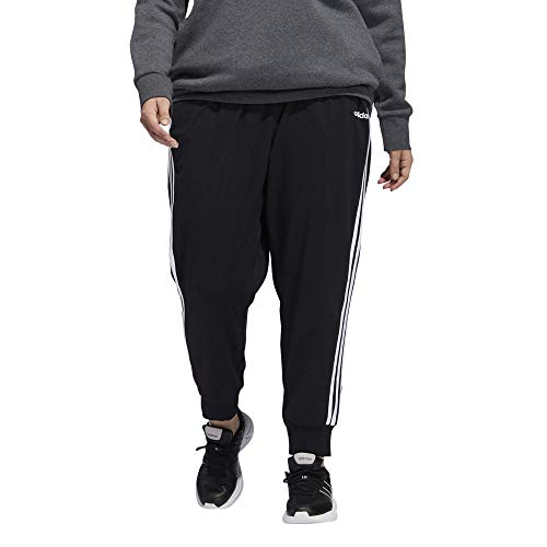adidas Female Essentials 3-Stripes Single Jersey Pants, Black/White,1X