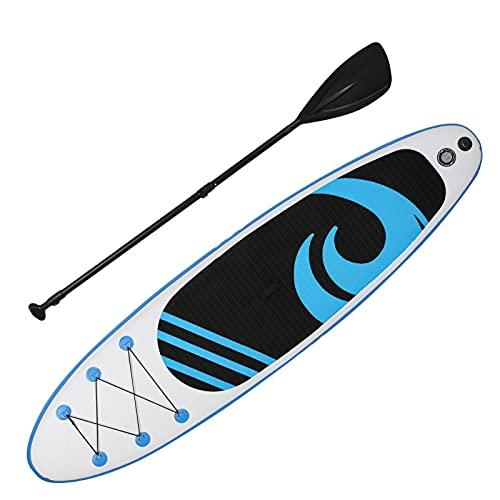 GOTOTOP Tabla De Surf Espesa, Tabla De Paleta De Tela Inflable Verde Menta 10.6 Pies Antideslizante Súper Liviana para Surf En El Agua para Exteriores(Azul Claro)
