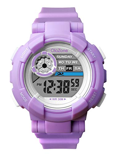 Girls Watch Kids Digital Sports 7-Color Flashing Light Waterproof 100FT Alarm Gifts for Girls Age for 8-12 487 (Purple)