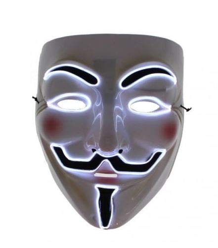 B-Creative Mscara LED de Halloween Vendetta Light Up ANONYMOUS MASK Guy Fawkes Mscara LED (blanco)