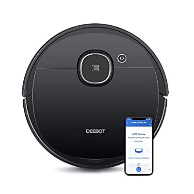 Ecovacs DEEBOT OZMO 920 2-in-1 Vacuuming and Mopping Robot with Smart Navi 3.0 Systematic Cleaning, Multi-Floor Mapping, Works with Alexa, Large, Black (Renewed)