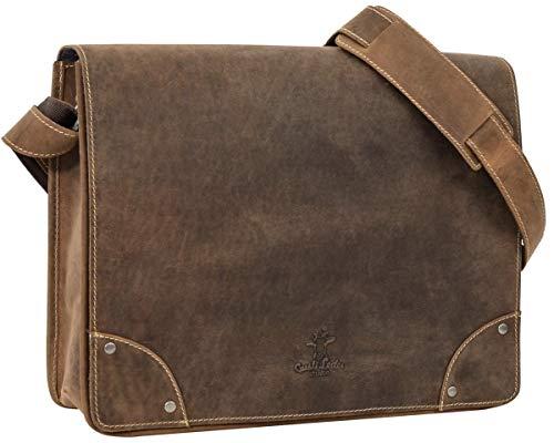 Gusti Leder studio 'Allan' borsa per portatile 15,4' tracolla lavoro università college interno impermeabile marrone 2H4-20-5wp