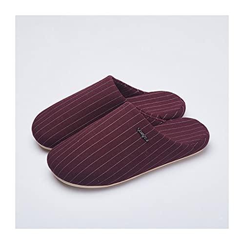 GHYUB Pantuflas para Hombres De Espuma De Memoria Zapatillas ,Zapatillas De Casa Antideslizantes, Zapatos De Invierno, Zapatillas De Casa De Lino para Parejas (Color : Red, Size : EUR40-41)