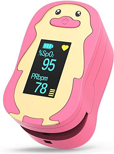 HOMIEE Pulsoximeter Kinder, Präzise Fingeroximeter Sauerstoffsättigung Messgerät, Oximeter SpO2 & PR Ratenrekorder mit Lanyard für Kinder, automatischer Abschaltung und schnellem Lesen