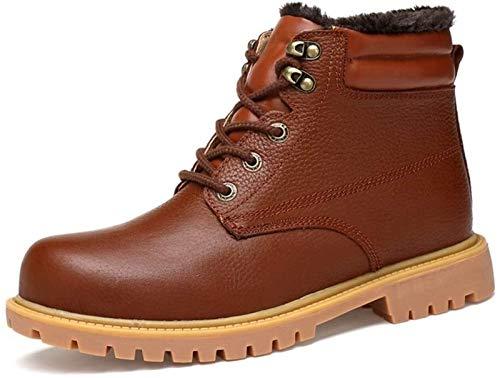 LXF JIAJU Zapatos de Hombre Cargadores del Tobillo De Los Hombres, De Encaje hasta Goma Cuero Auténtico Suela Lana Forrada Zapatos del Color Sólido, Usar-resisiting Relieve Remiendo Botas De Trabajo