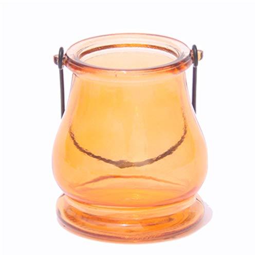 XinLuMing Voyol avec poignée dans Set Ø 8,7 x 9,6 cm, Verre de turkies Bleu Chatoyant, Porte-Bougie de Bougie de tireau Suspendu à la lumière Dure dekoglas Vase (Color : F)