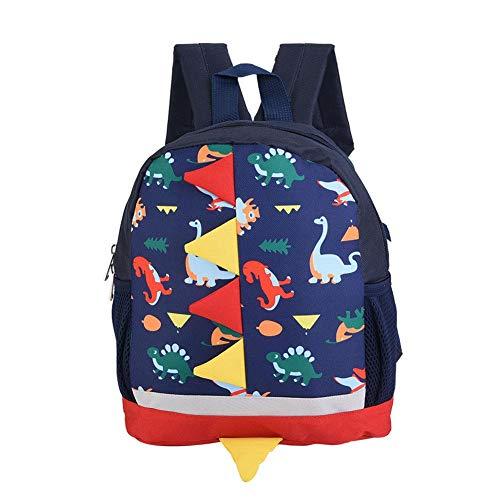 Mooie karikatuur comfortabele dinosaurus patroon rugzak schooltas kinderrugzak voor baby kinderen donkerblauw