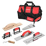 Goldblatt 8-Piece Masonry Hand Tool Set Includes Finishing Trowel, Gauging Trowel, Groover, Edger, Extruded Magnesium Float, Wood Float and Wire Twister, Organized in Tool Bag