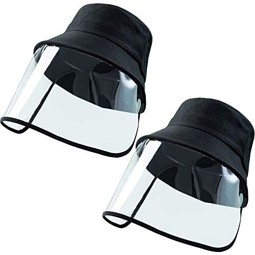 Cotiny 2 Pack Cappello protettivo Occhiali protettivi Viso protettivo Cappellino integrale Visiera parasole Cappello pescatore Cappello antiappannamento, antisaliva e antisputa per uomo e donna (Nero)
