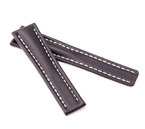 BOB Herren Faltschließband Kalbsleder kompatibel Breitling 22/18 mm schwarz