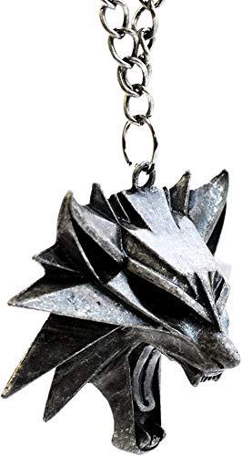 MNMXW The Witcher 3 Wild Hunt Medallion - Colgante de Cabeza de Lobo Salvaje - Memorabilia de Videojuegos para Hombres