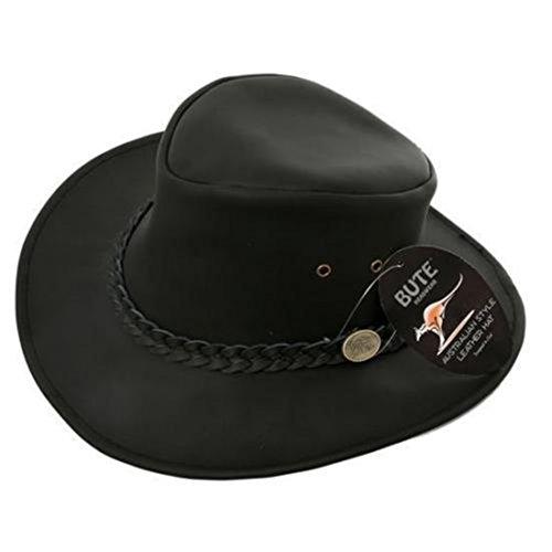 Neuf Cuir Noir Aussie Style Hat 4 tailles à partir de £ Musique - Noir -