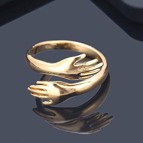 Zaaqio Open Ring For Women, Adjustable Elegant Love Hug Golden Hand Unisex Finger Ring Unique Romantic Jewelry For Christmas Party Anniversary Xmas Gift
