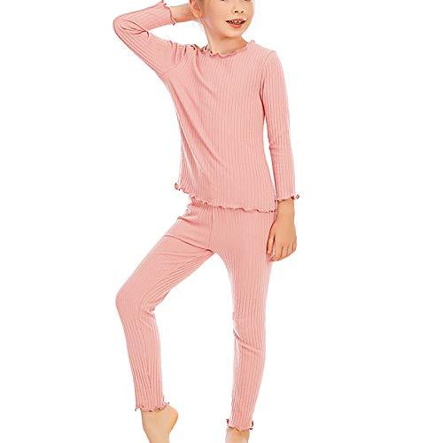 Upxiang - Pijama para niño y bebé, 2 piezas, otoño, invierno, con cuello redondo y manga larga, ropa de noche cómoda para el hogar Rosa 150 cm