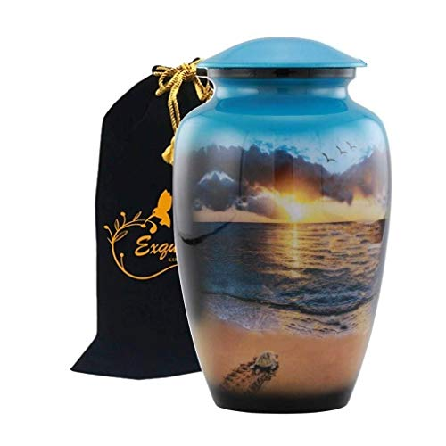 Exquisiteurn's Hand Painted Cremation Urn - Adult Cremation Urn - Handcrafted Funeral Urn for Ashes - Metal Cremation Urn - Great Deal Free Bag (Sunset)