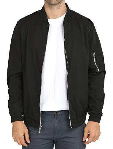 WULFUL Mens Casual Lightweight Jacket Softshell Flight Bomber Jacket Varsity Coat (Black, Large)