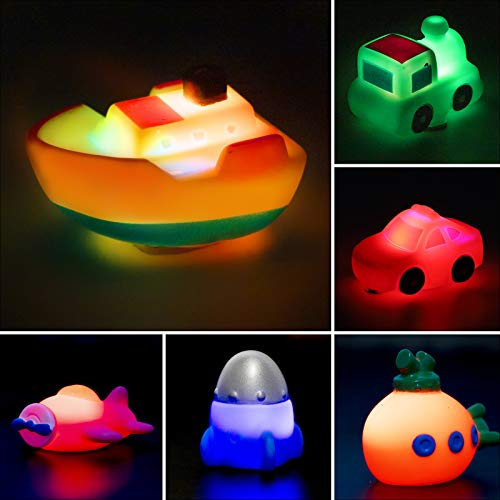 Seamuing Bath Toys for 1 Year Old Toddlers, 6pcs Light Up Boat Bath Toy Set with Organizer Bag, Flashing Color Changing Light in Water, Floating Rubber Bathtub Toys for Baby Toddler Infant Tub Play