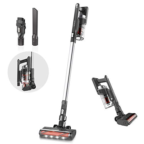 Womow Cordless Vacuum Cleaner, 300W Strong Suction 2.9lb Lightweight Stick Vacuum Rechargeable Battery Powered Vacuum for Pet Hair Dark Grey W5 Pro