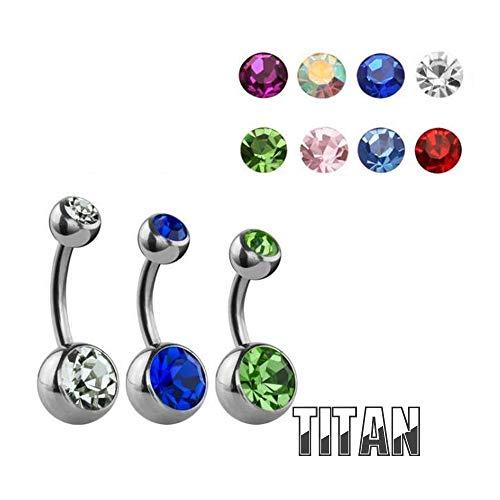 Treuheld® Silbernes Titan Bauchnabelpiercing mit Kristallen - 8 Kristall-Farben und 2 Größen - [01.] lila (1,6 x 8 mm - Kugeln: 4/6 mm)