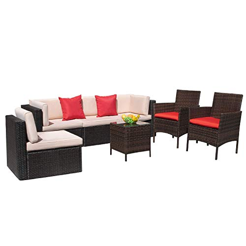 VICTONE 7 Pieces Patio Furniture Sets All Weather Sectional Sofa Wicker Rattan Patio Conversation Set with Chairs and Glass Table (Red)