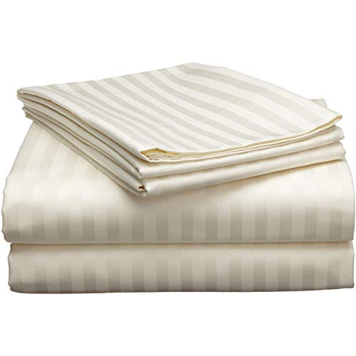 Amazon Best 3-Piece 600 Thread-Count Egyptian Cotton Massage Table Sheet Set - Soft Cotton Facial Bed Cover - Includes Flat and Fitted Sheets with Face Cradle Cover Fabulous Looking Ivory Stripe Color