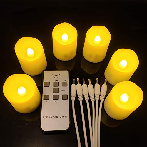 LED Tea Lights Rechargeable Candles with USB Charging Cable, 6 PCS Votive Tea Light with Remote, Flameless Flickering Warm White Tealights Candle for Halloween, Pumpkin Light, Christmas Decorations