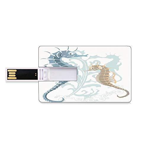 32 GB Chiavette USB Flash Decorazioni animali Archiviazione su Memory Stick del disco U della chiave di affari della forma della carta di credito Coppia di piccoli e grandi pesci dai toni morbidi Desi