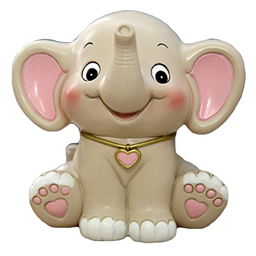 WAIT FLY Cute Elephant Shaped White Pink Resin Piggy Bank Coin Bank Money Bank Gifts for Lovers Children Home Decoration