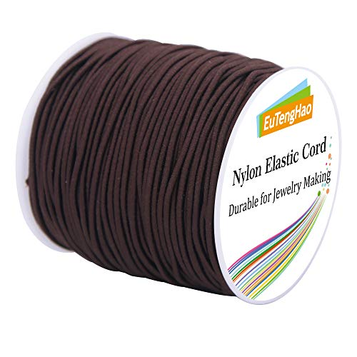 EuTengHao 1.5mm Brown Nylon Elastic String Cord for Bracelet Satin Nylon Stretch Cord Nylon Hand Knitting Cord String Beading Thread Bracelet Rope for Necklace Bracelet Jewelry Making (55Yards/1.5mm)
