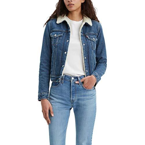 Womens Sherpa Blue Denim Trucker Jacket