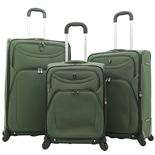 Travelers Club Marino Expandable Spinner Luggage, Forest Green, 3 Piece Set (21/25/29)