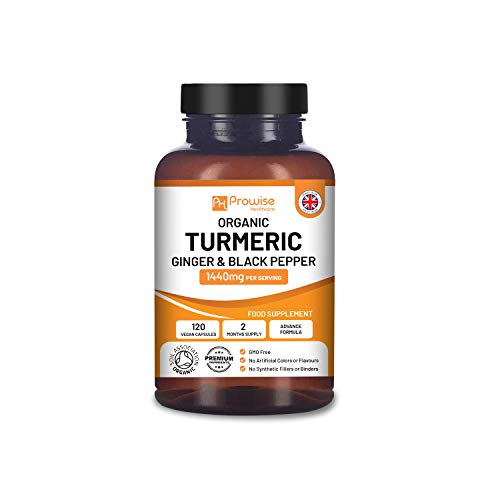 Organic Turmeric Curcumin 1440mg with Black Pepper & Ginger | Certified Organic by Soil Association |120 Vegan Turmeric Capsules High Strength (2 Month Supply) I Made in The UK by Prowise Healthcare