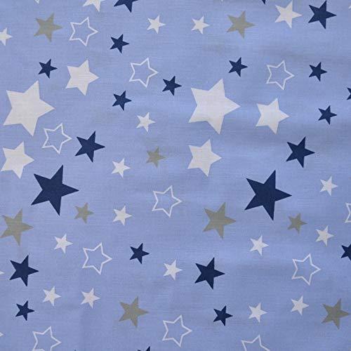 Pingianer Tela de algodón 100 % para niños, por metros, artesanía, tela de costura, diseño de estrellas, color azul oscuro y blanco, 100 x 160 cm