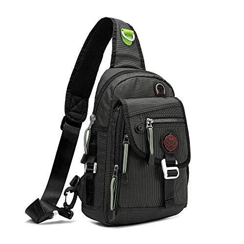 Nicgid Sling Bag Backpack Crossbody Bags for Ipad Tablet Outdoor Hiking(Black)