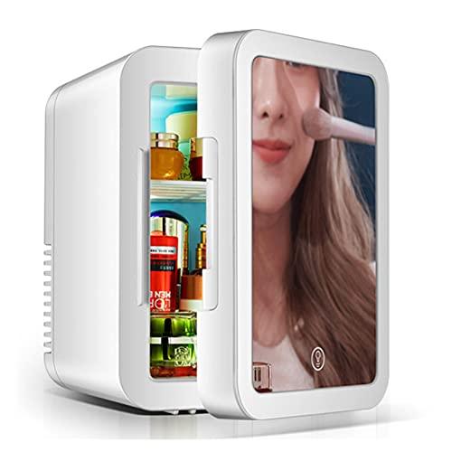 Refrigerador Cosmético 2 En 1 Con Espejo De Maquillaje Y Luz LED, Mini Neveras 5L Con Función Refrigeración Y Calefacción. Para Productos Para El Cuidado De La Piel Casa Y Coche Pequeño Congelador