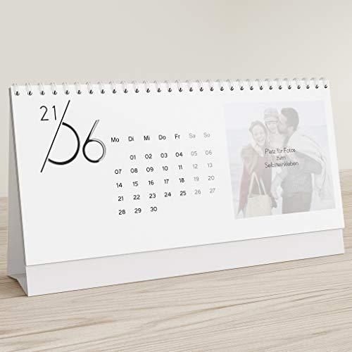 sendmoments Kalender zum Selbstgestalten 2021 mit Relieflack, Jahreskalender, Bastelkalender zum Aufstellen und Einkleben Gedruckter Fotos, Querformat 260x120