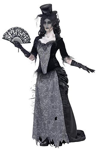 Smiffys-24575S Halloween Disfraz de Viuda Negra de Ghost Town, con Parte de Arriba, Falda y sombrer, Color Gris, S-EU Tamaño 36-38 (Smiffy