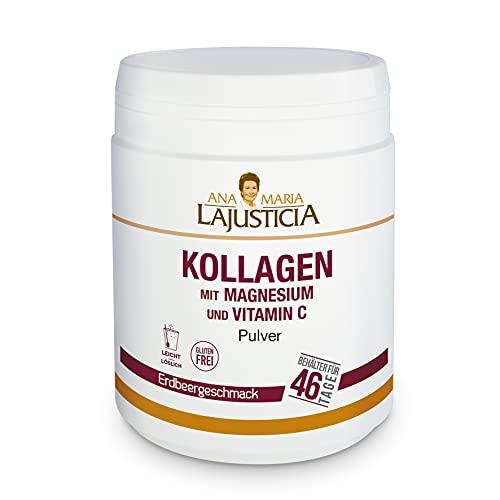 Ana Maria Lajusticia – Kollagen mit Magnesium und Vitamin C – 350g (mit Erdbeergeschmack) für starke Gelenke und straffe Haut. Gewebe-Regenerator mit Kollagen-Hydrolysat. Menge für 46 Einnahmetage.