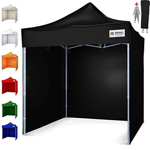 BRIMO ® Faltzelt Partyzelt faltpavillion + Gratis 3 Wände und 100% WASSERDICHT (2x2m, Schwarz)