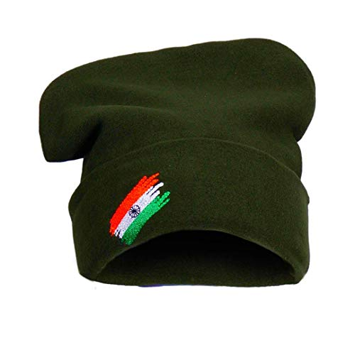 KT - Unisex Army Military Woolen Caps with Indian Flag Print for Men Women, Topa for Winter Season. Green