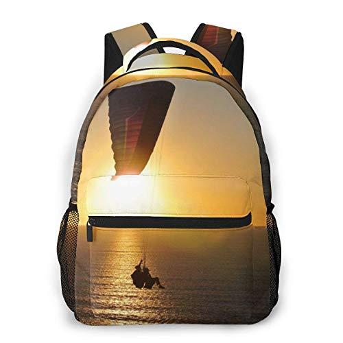 Lawenp Mode Unisex Rucksack Gleitschirm Silhouette bei Sonnenuntergang Meer Bookbag Leichte Laptoptasche für Schulreisen Outdoor Camping