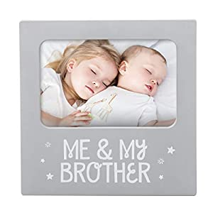 "Modern sentiment keepsake photo frame expresses the special bond between siblings Includes frame, easel, and gray beveled mat Dimensions: Frame: 7.12"" w x 7.12"" h x 0.5"" d // Photo insert: 4"" x 6"" Decorate baby's nursery with this white wooden frame...."