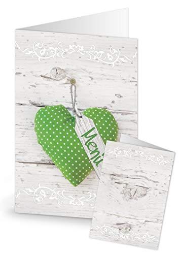 Menus vert 20 pièces blanc avec motif cœur-style shabby chic pour restaurants de cartons nominatifs pour plan de table, pour mariages, les fêtes d'anniversaire, la saint valentin, les fêtes de menu format a5.