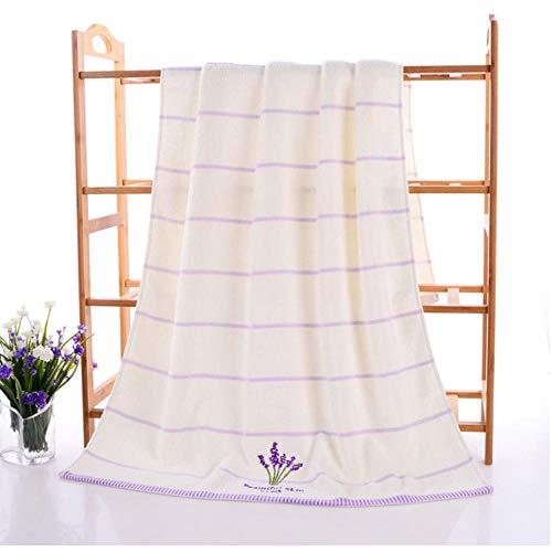 Volwassen geborduurde katoenen badkamer Strand absorbeert water Badlaken Handdoek Badjas Wit 70x140cm