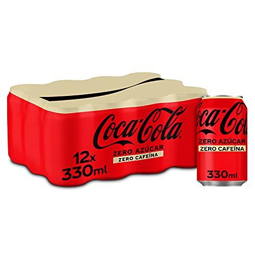 Coca-Cola Zero Azúcar Zero cafeína - Refresco de cola sin azúcar, sin calorías, sin cafeína - Pack 12 latas 330 ml