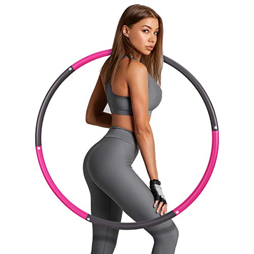 Hula Hoop Fitness,sinocare Weighted Hula Hoop ponderado Aro Fitness Desmontable con Espuma, Smart Hula Hoop para Adultos con Peso Ajustable, Adecuado para Fitness Adulto y pérdida Peso.