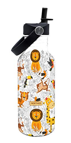 NERTHUS FIH 808-Botellín Infantil a Prueba de Fugas, Botella de Agua para niños con Dibujos de Animales Color Blanco, 500 ml